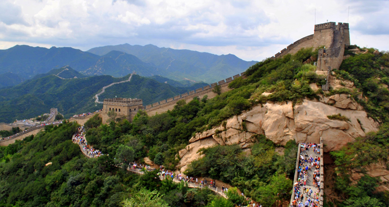 An overlooking view of the Great Wall of China.