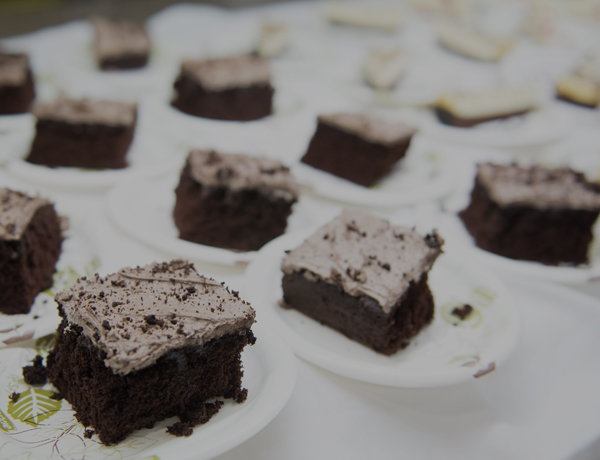 Plates of chocolate cake at the dining center