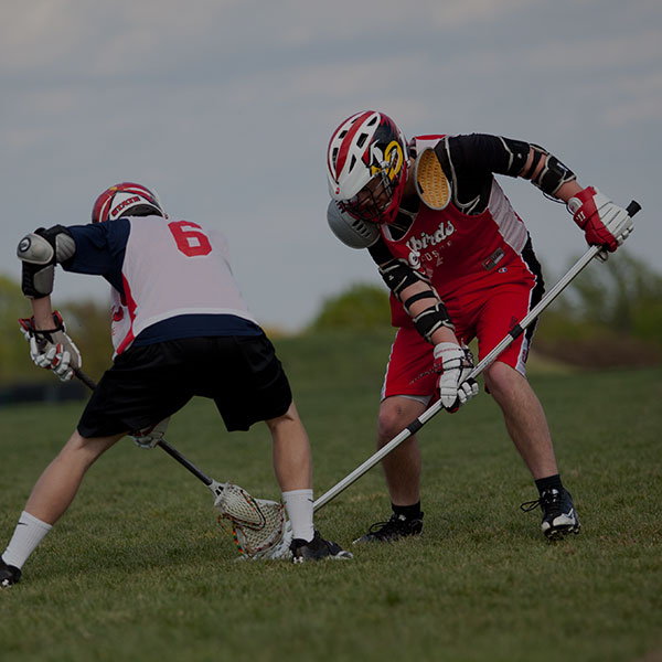 Action shot of lacrosse club practice.
