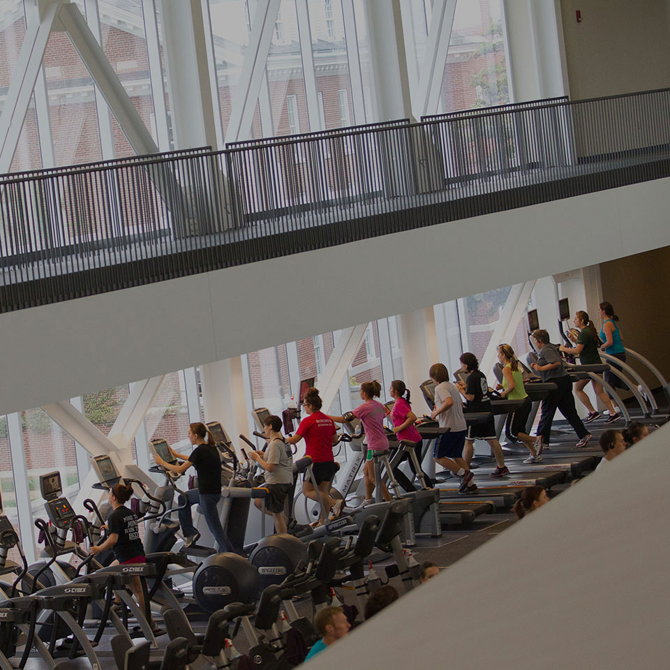 Students using the equipment in the Student Fitness Center.
